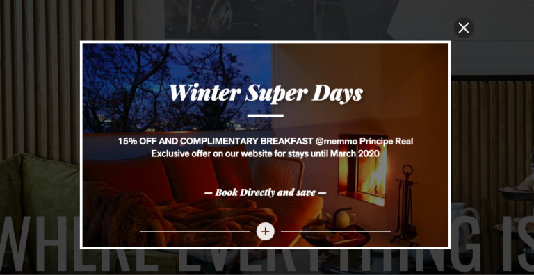 Why incentives increase direct bookings blog image. Featuring pop-up incentive message to book directly on the Memmo Hotel website.