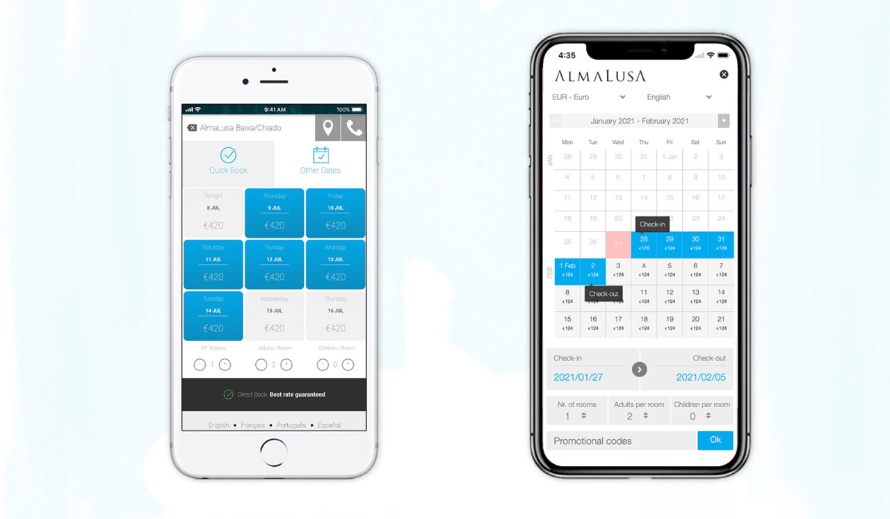 'Simplified' Mobile Booking Engine Rates & Availability Calendar on old mobile screen, vs 'Dynamic' Mobile Booking Engine Calendar on New Mobile Screen.