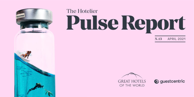 Hotelier PULSE Report - 13th Edition cover with vaccine bottle and the dream of international travel.