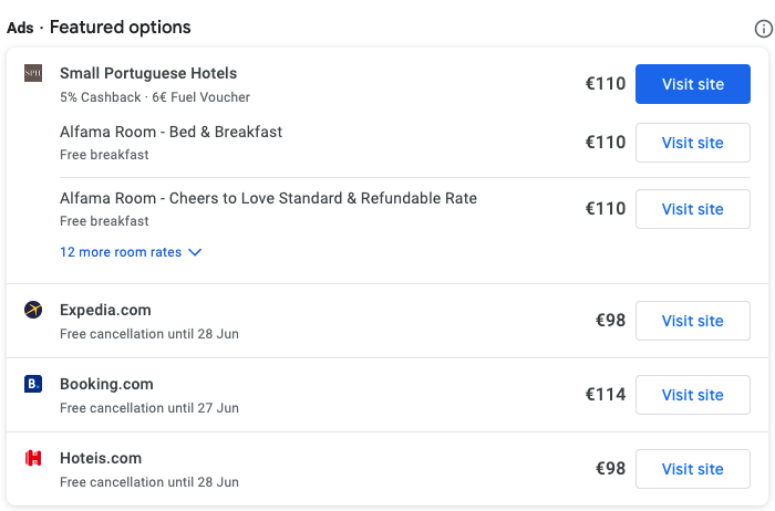 Google Hotel Free Booking Links - Image of Hotel listings on Google's search engine